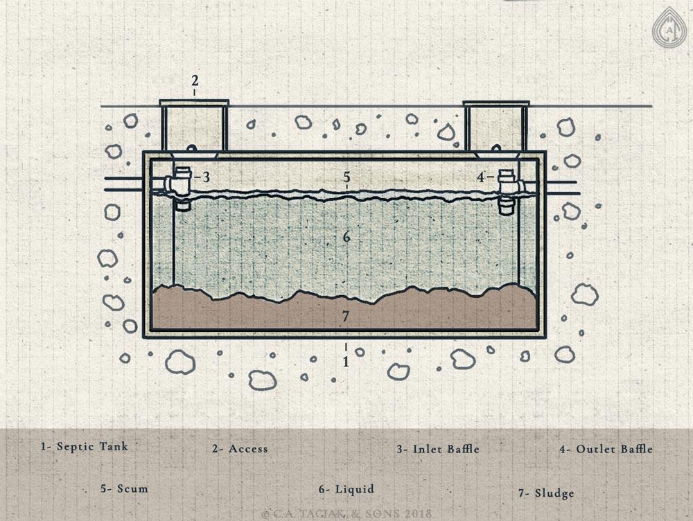 Diagram of a septic tank, septic baffles, inlet, outlet, sludge, scum, liquid, and access points