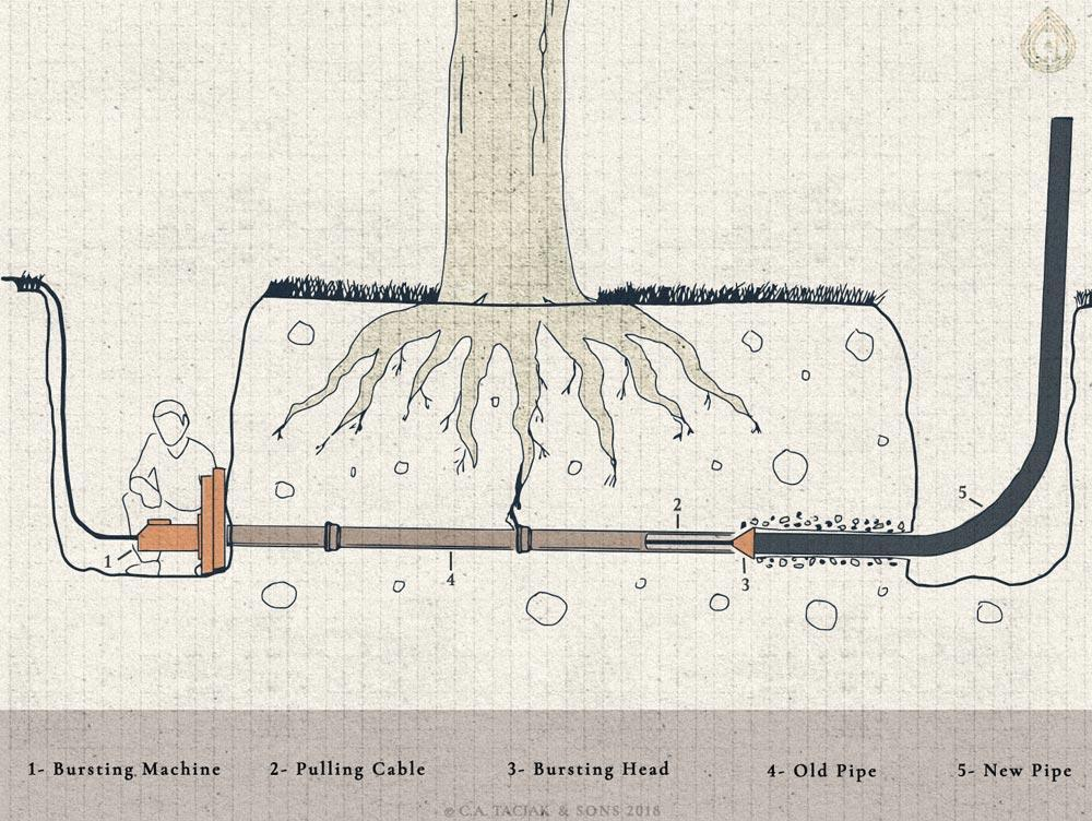 Illustration of a man operating a pipe bursting machine to repair a sewer line under a tree
