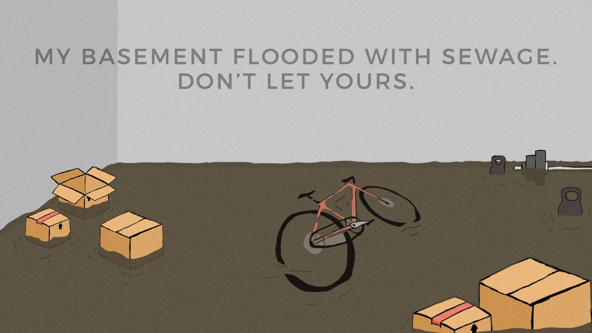 drawing of a basement filled with boxes, weights, and a bike covered in sewage