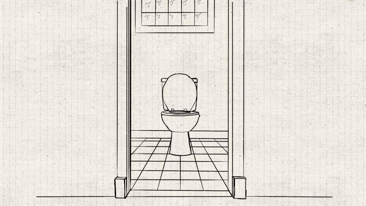 technical drawing of a basement toilet under a glass block window