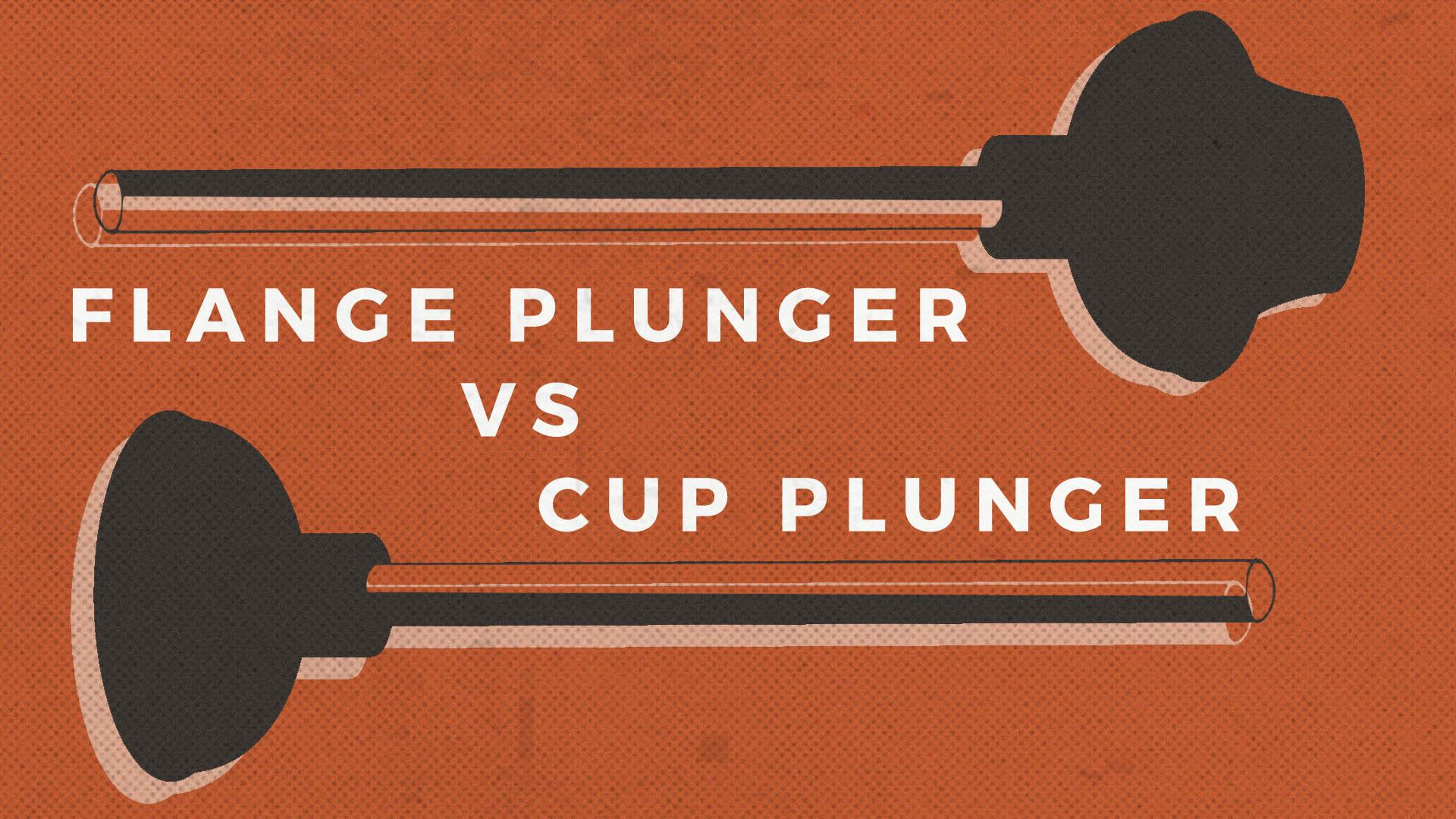 a vintage style illustration of a flange plunger and a cup plunger on a red halftone background