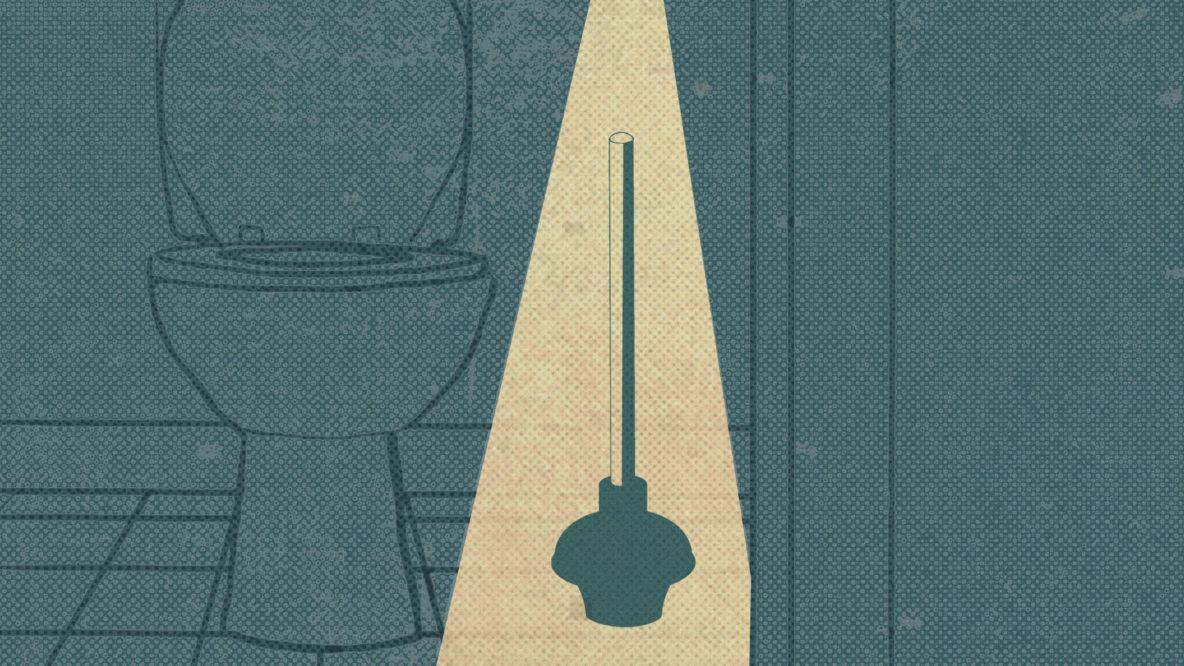 vintage style drawing of a plunger being illuminated next to a toilet